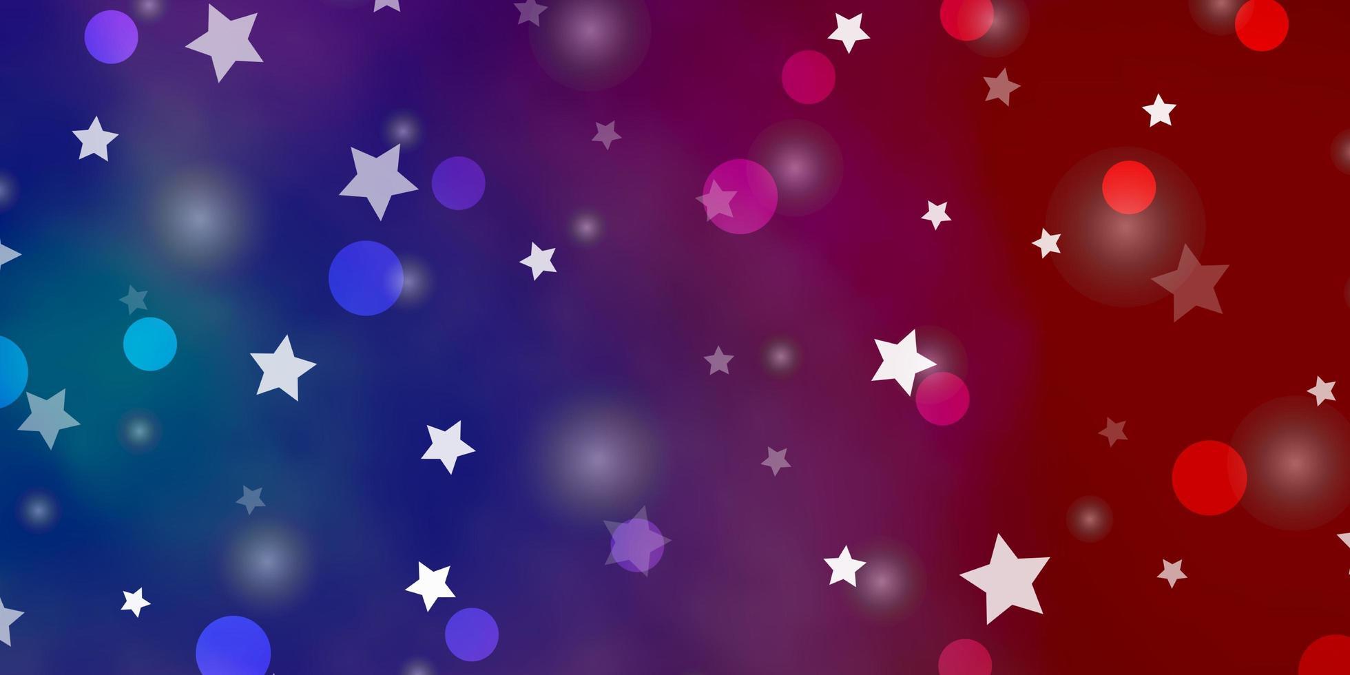 hellblaue, rote Textur mit Kreisen, Sternen. vektor
