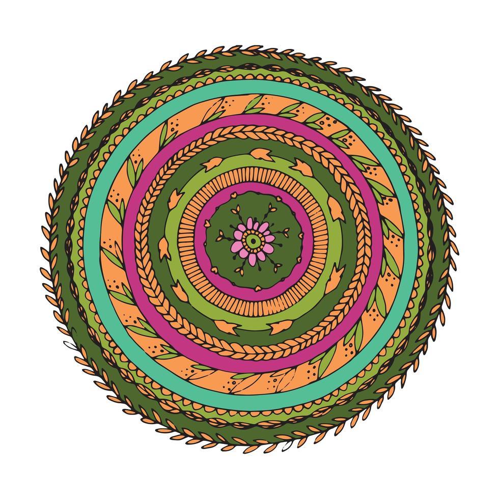 blommig mandala prydnad vektor