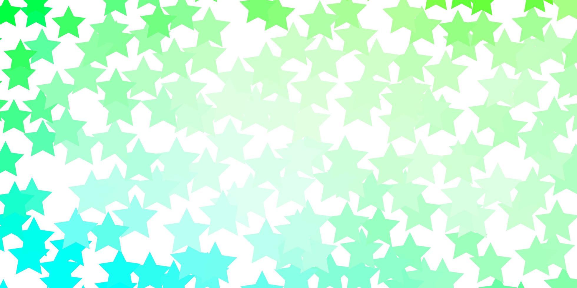 ljusgrön mall med neonstjärnor. vektor