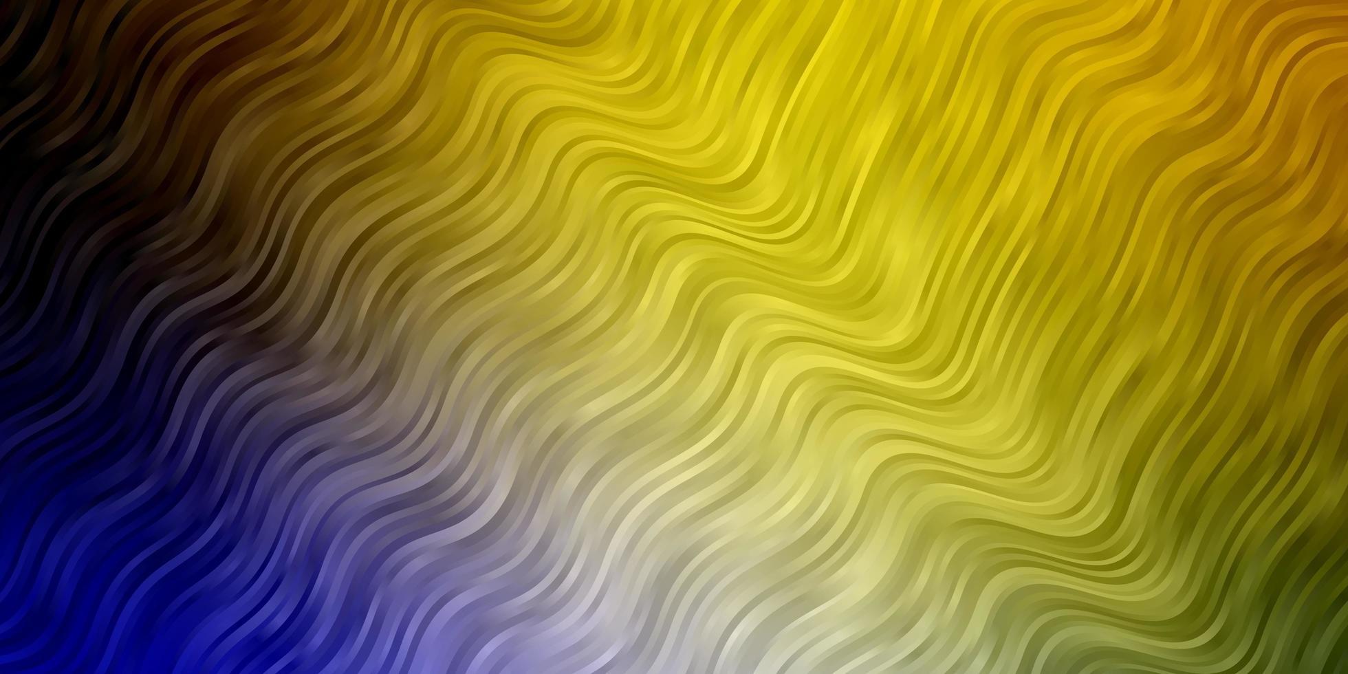 ljusblå, gul mall med böjda linjer. vektor
