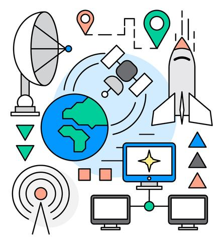 Raum-Industrie-Icons vektor