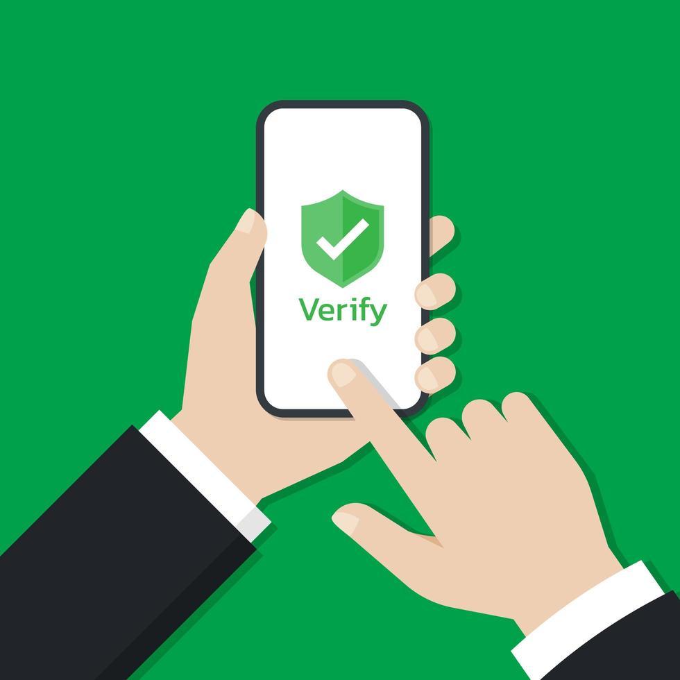 affärsman som använder en smartphone för att trycka på verifieringsknappen vektor