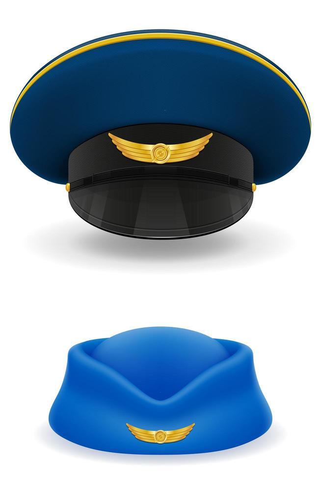 pilot- och stewardesshatt för passagerarflygbolag vektor