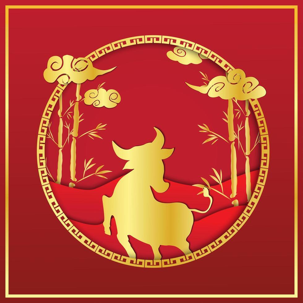 kinesiska nyåret röd och guld silhuett design vektor
