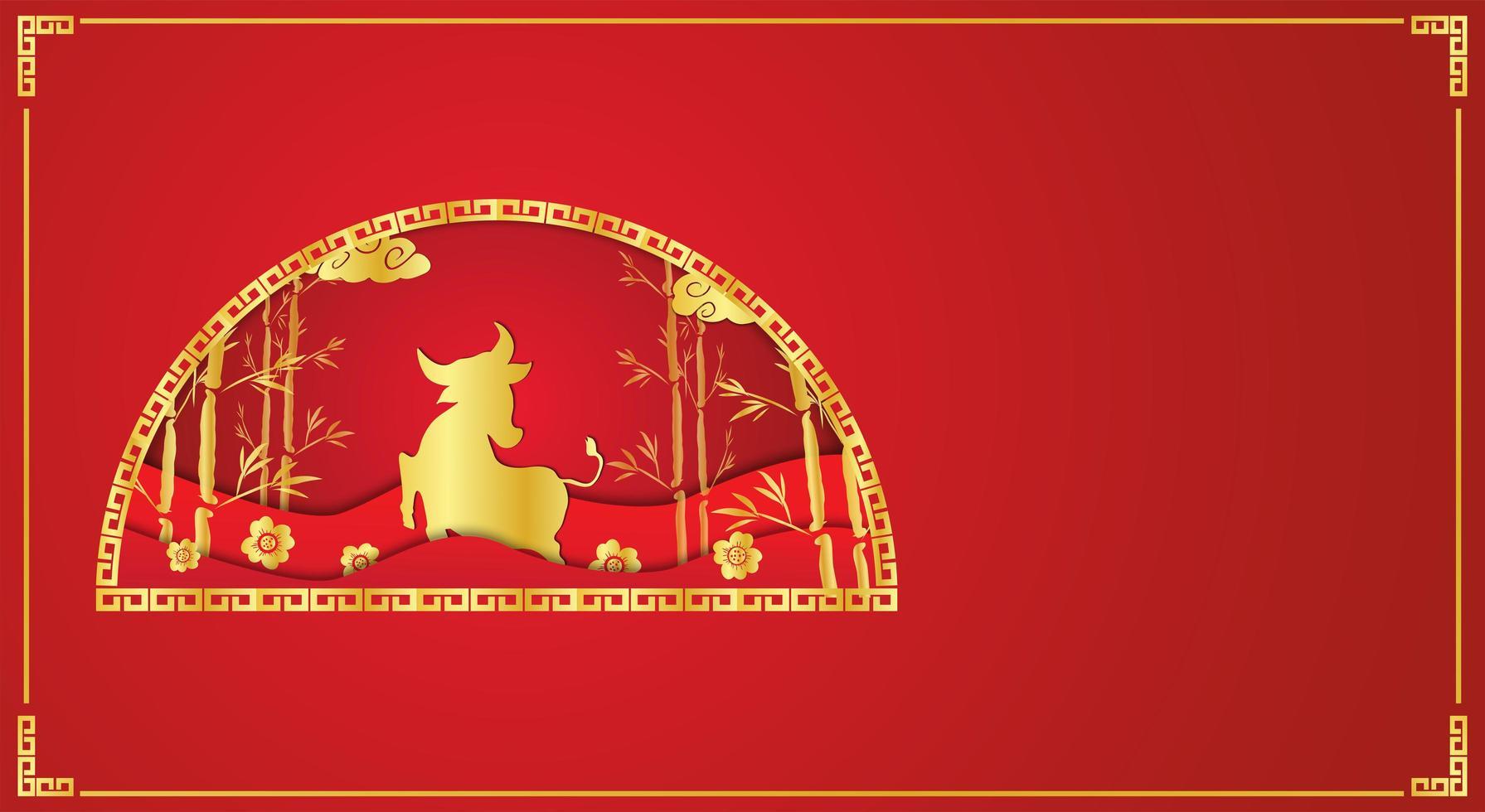 kinesiskt nyår rött och guld design med kopia utrymme vektor