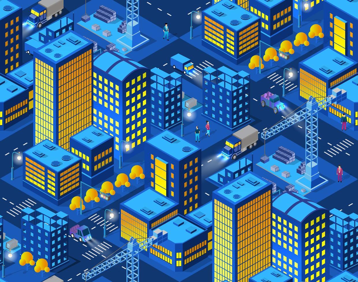 industriell konstruktion smart stad på natten mönster vektor