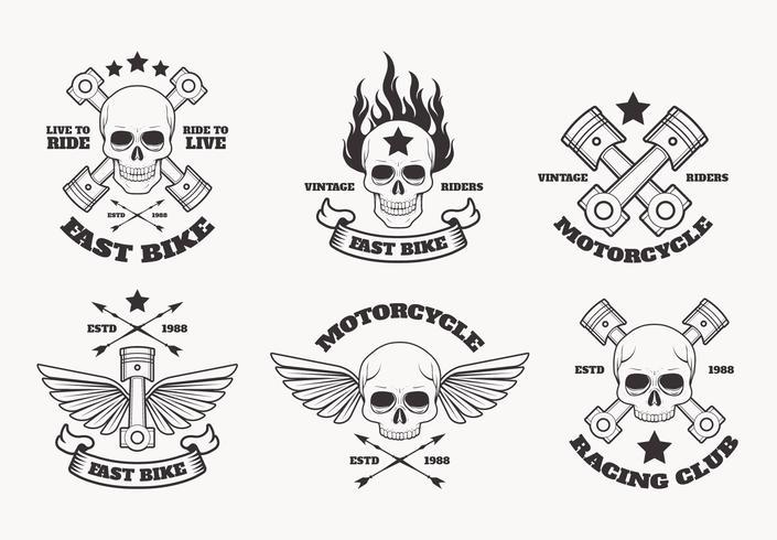 Weinlese-Motorrad-Emblem-Vektor-Sammlung vektor