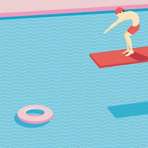 Schwimmer auf einer Sprungbrettillustration vektor