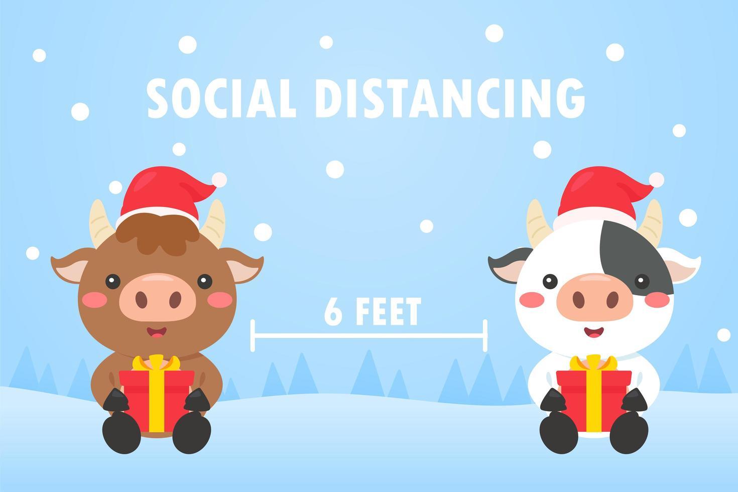 julkor gör social distansering vektor