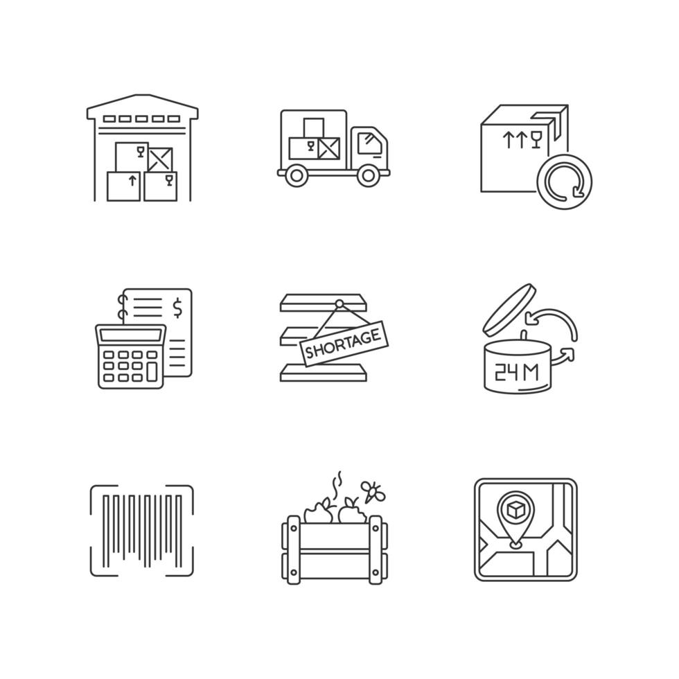 Lineare Symbole für die Bestandsverwaltung festgelegt. vektor