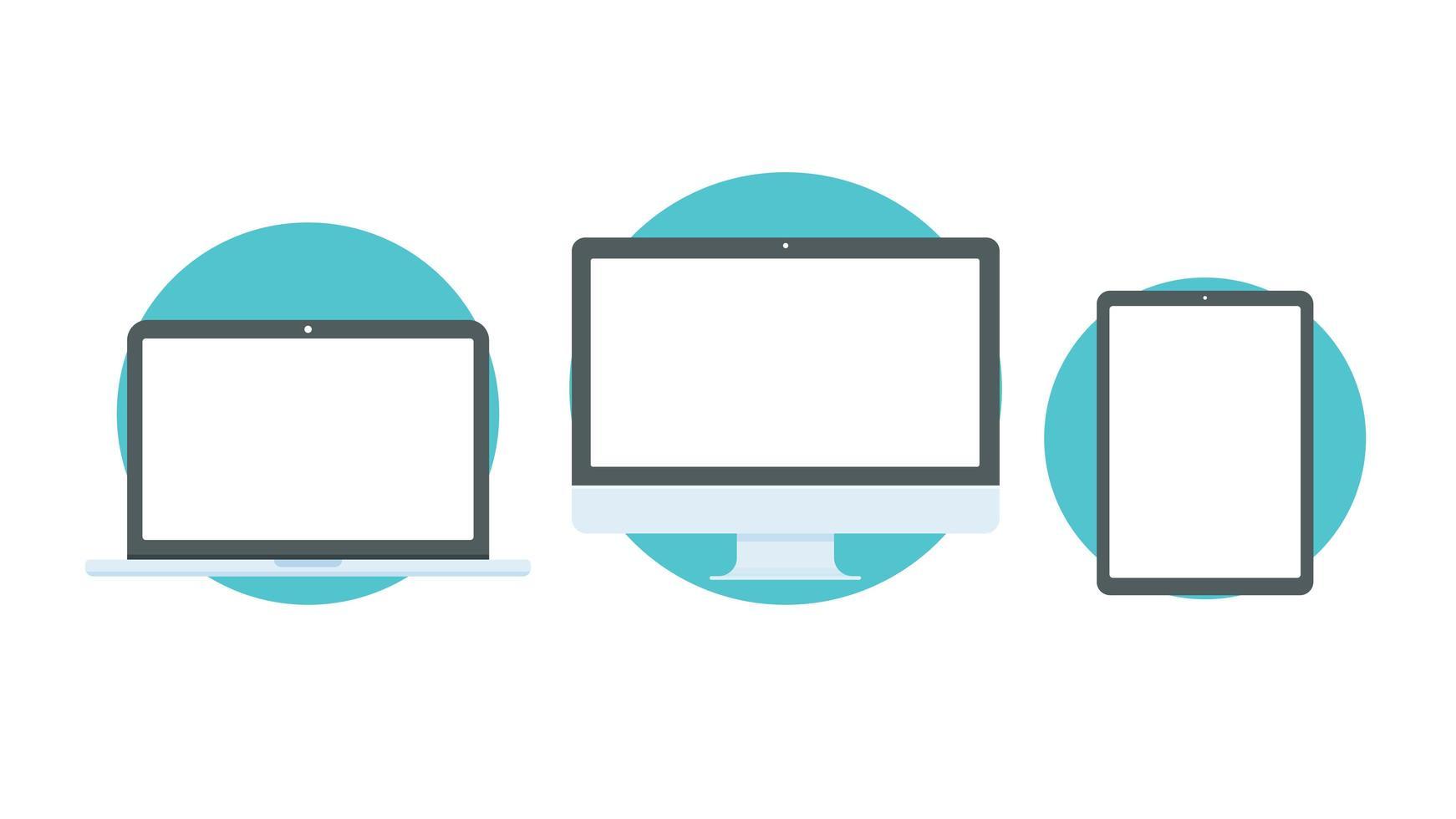stationär dator, bärbar dator och smartphone vektor