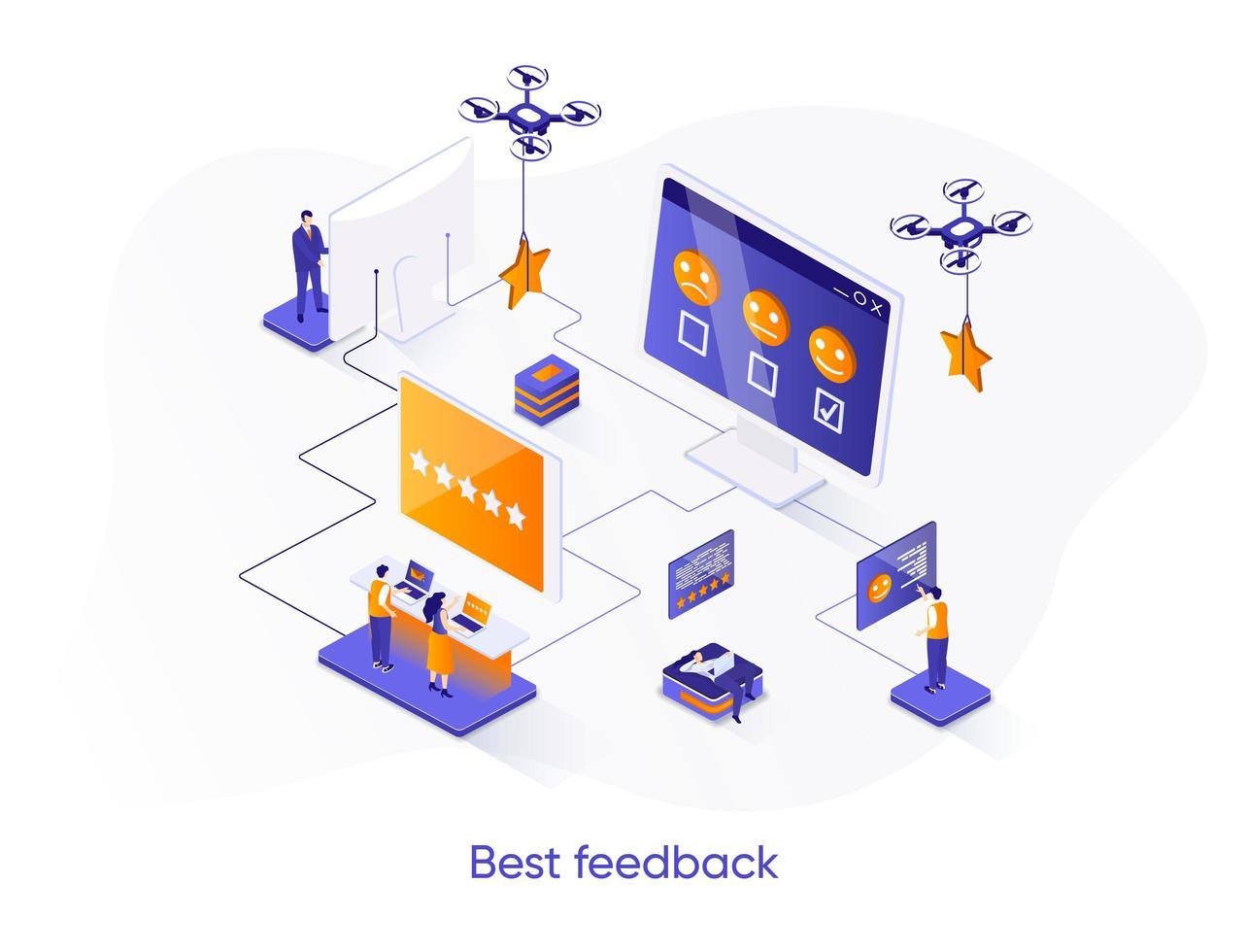 bästa feedback isometrisk webbbanner. vektor