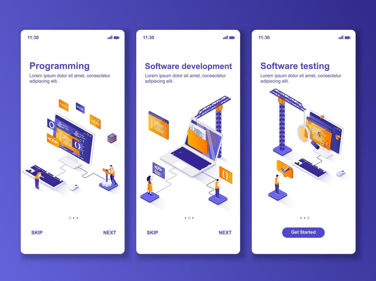 mjukvaruutveckling isometrisk gui design kit. vektor