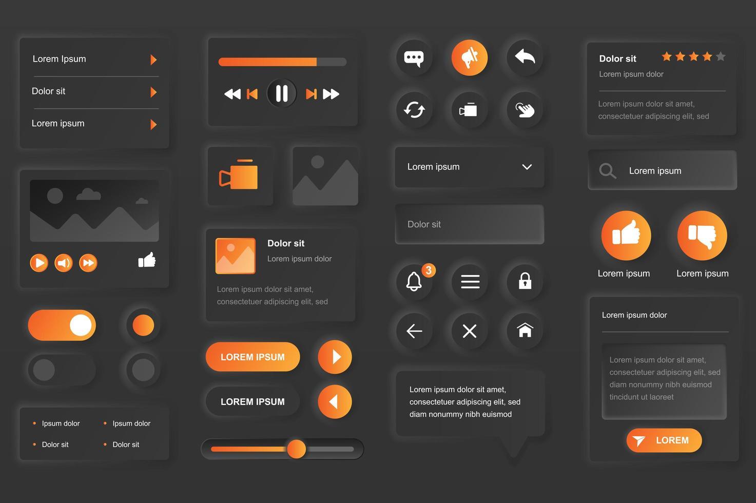 Elemente der Benutzeroberfläche für die mobile Video Tube App vektor
