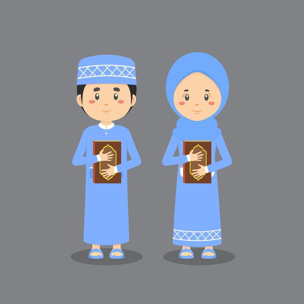 Charaktere, die den Koran umarmen vektor
