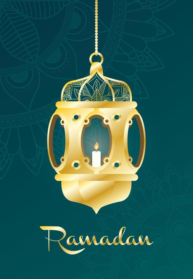 ramadan firande banner med guld lampa vektor