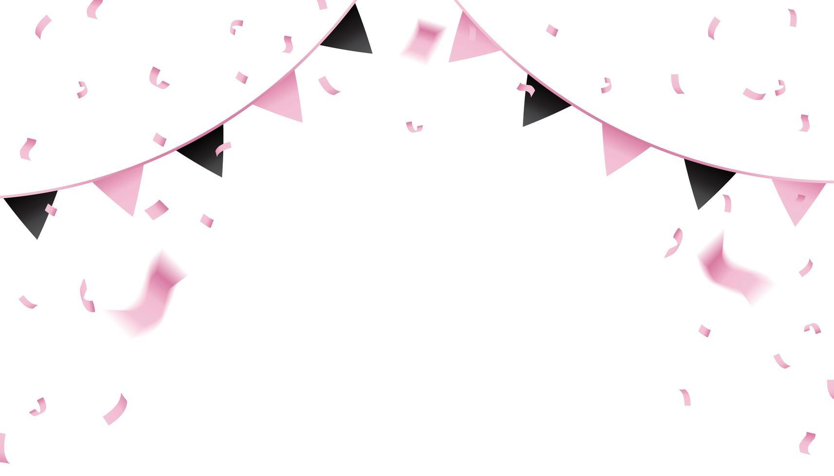 rosa und schwarze Konfetti und Wimpelflaggen vektor