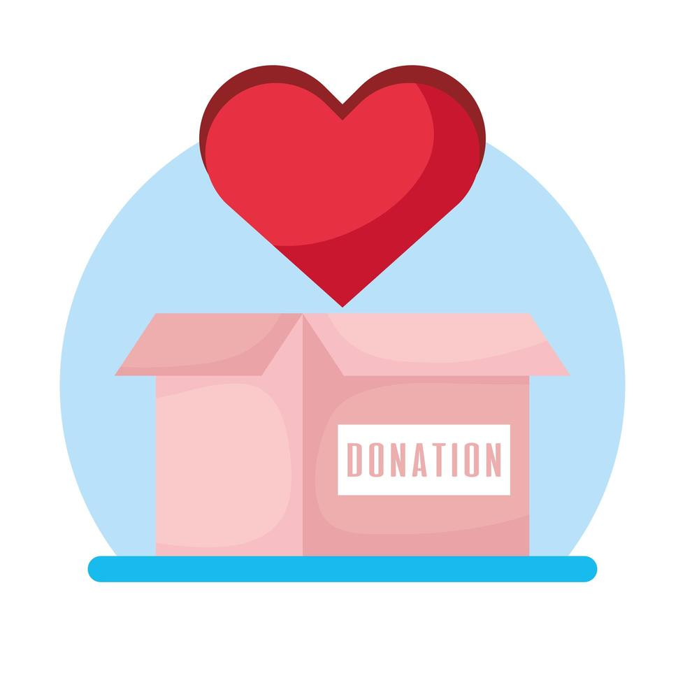 välgörenhets- och donationslåda med hjärta vektor
