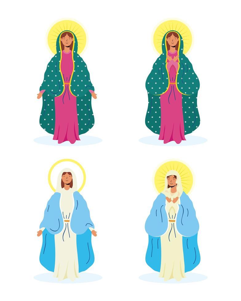jungfru mary ikonuppsättning vektor