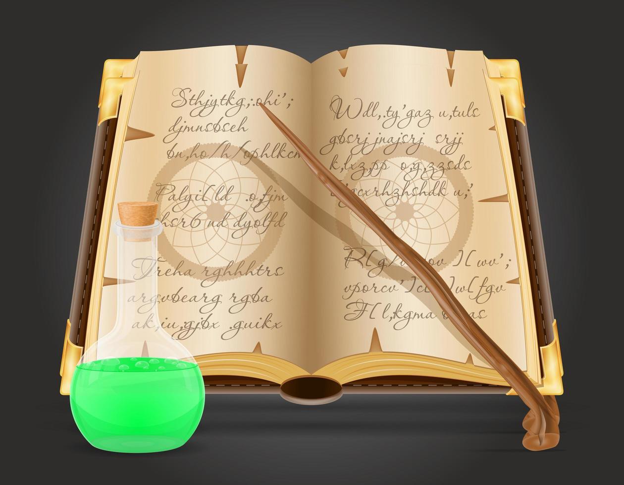 magisk bok och dryck vektor