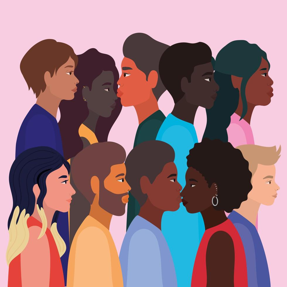 mångfaldskinn av svarta kvinnor och karikatyrer vektor
