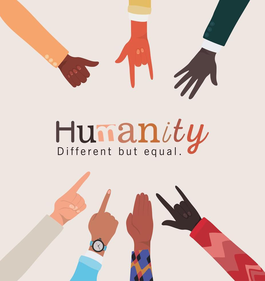 mänskligheten annorlunda men lika och mångfald händer vektor
