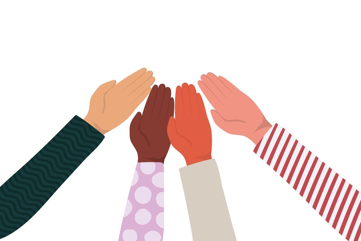 Hände berühren sich von verschiedenen Arten von Skins Vektordesign vektor