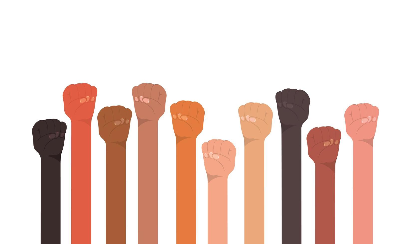 knytnävehänder upp av olika typer av skinn vektor