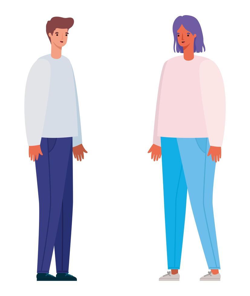 män och kvinna avatar tecknad design vektor