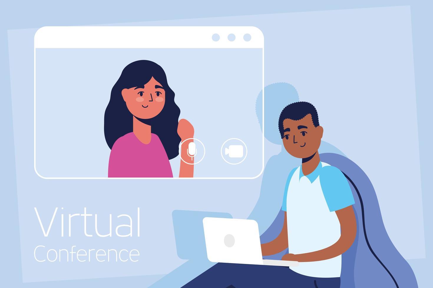 man på den bärbara datorn för ett virtuellt konferenssamtal vektor