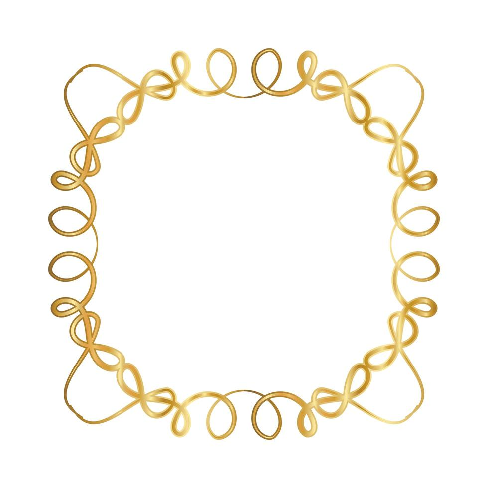Goldverzierungsrahmen mit Kurvenentwurf vektor