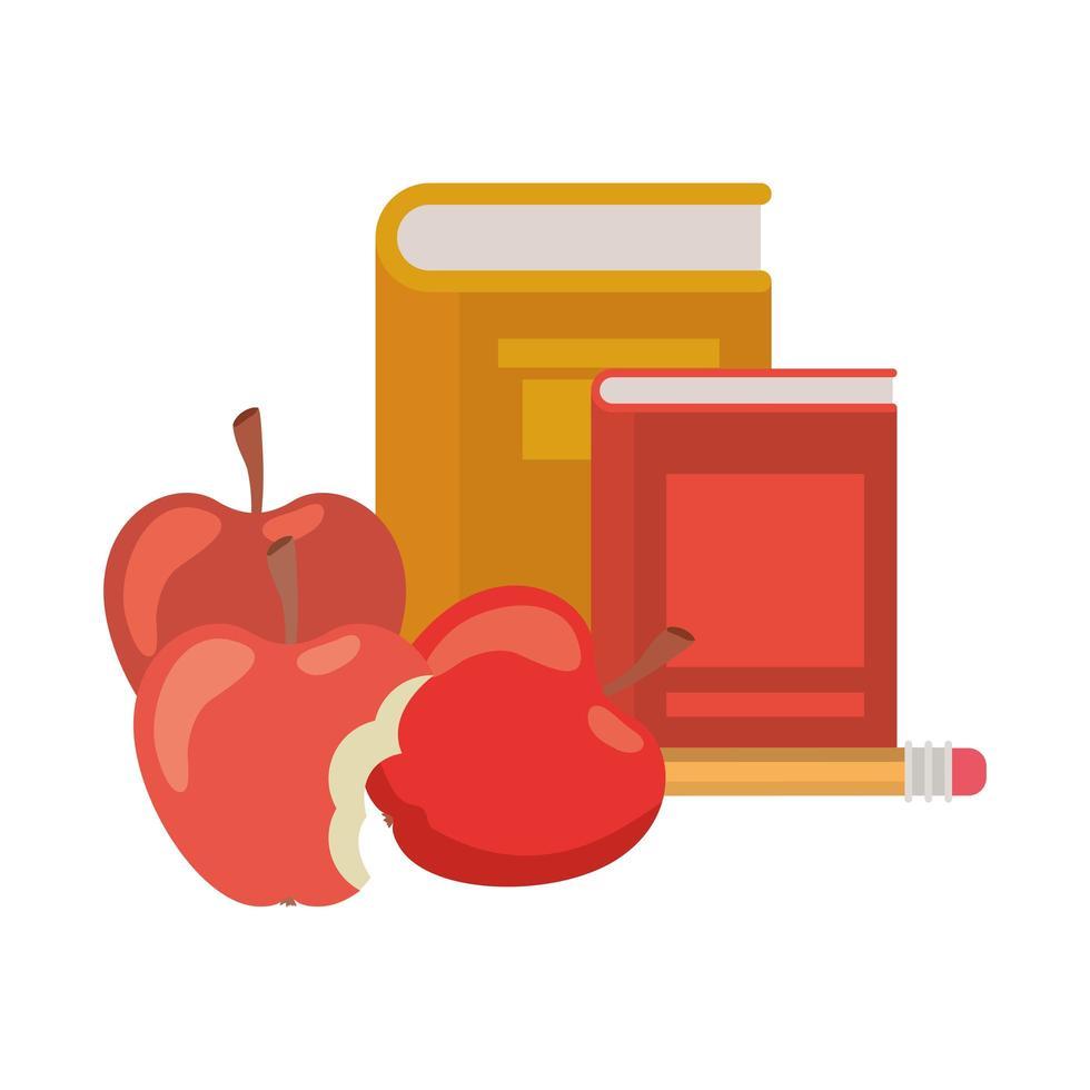 bunt med böcker med apple frukt ikon vektor