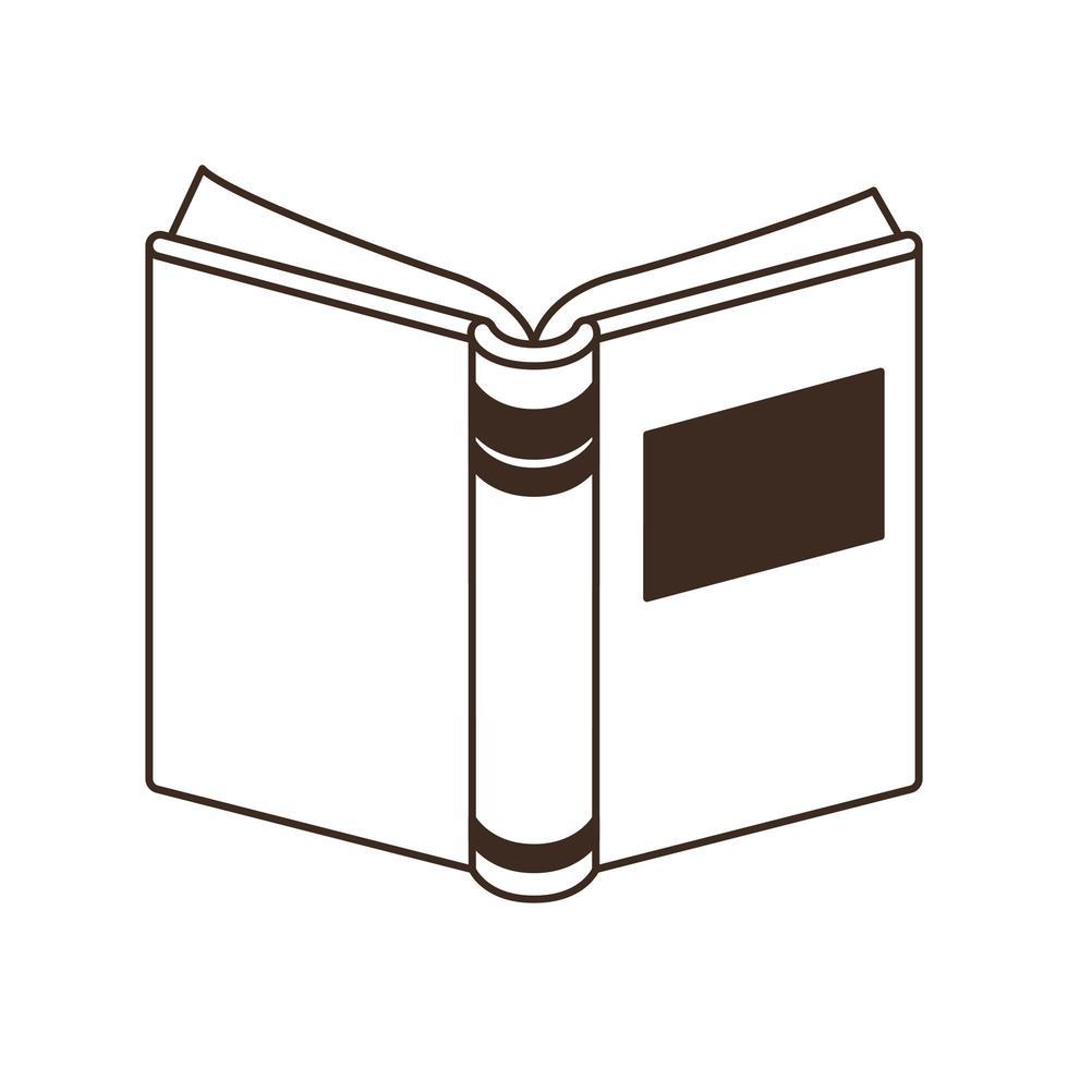 offenes Schulbuch auf weißem Hintergrund vektor