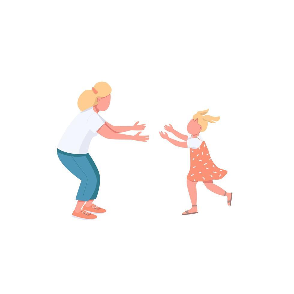 mamma med dotter på väg att krama vektor