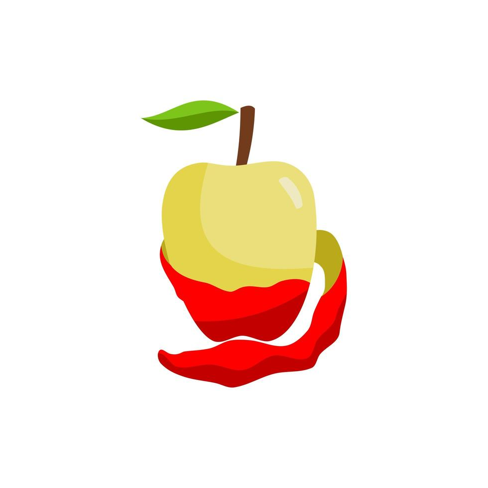 rote Apfelfrucht offene Haut isoliert vektor