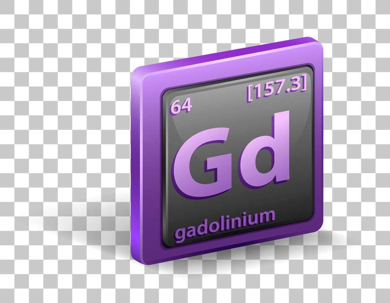 Gadolinium chemisches Element. chemisches Symbol mit Ordnungszahl und Atommasse. vektor