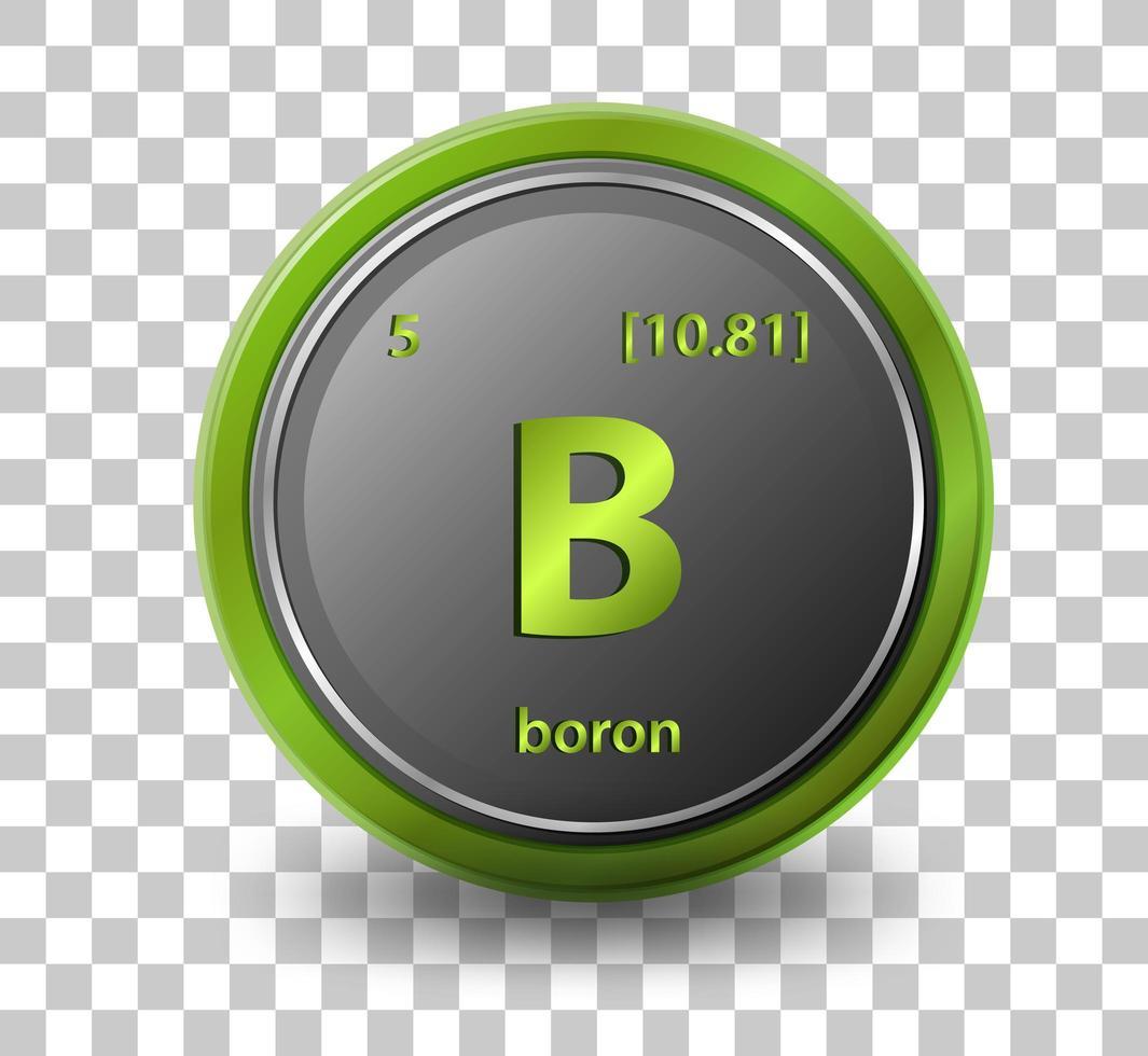 chemisches Element Bor. chemisches Symbol mit Ordnungszahl und Atommasse. vektor
