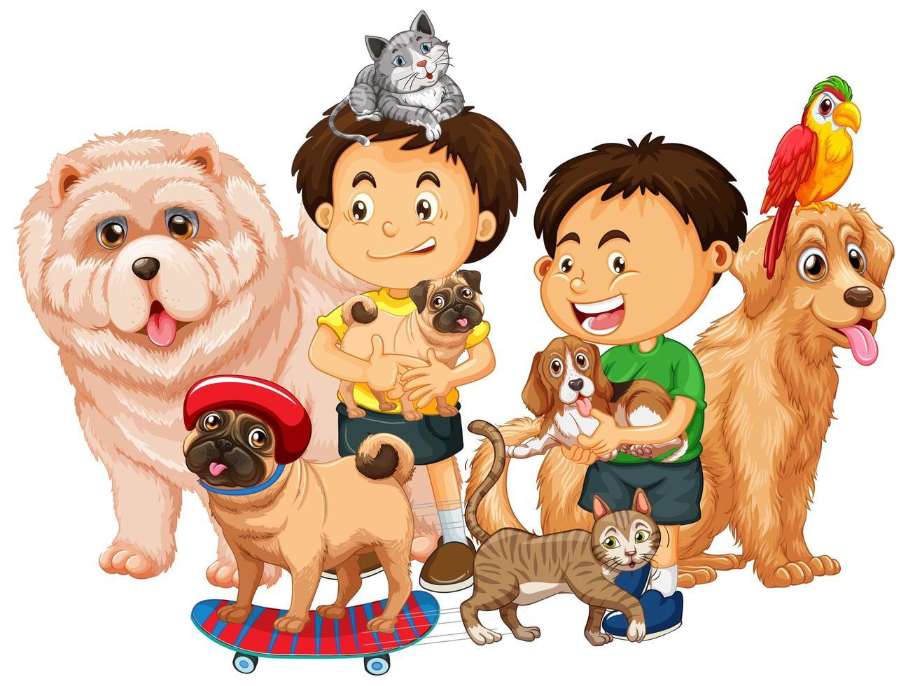grupp husdjur med ägaren på vit bakgrund vektor