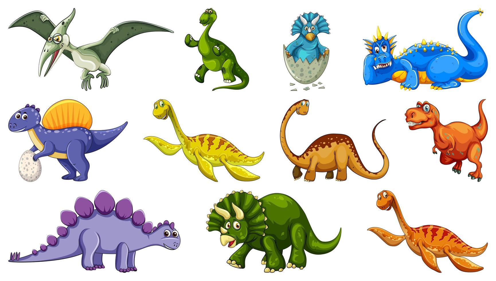 uppsättning av olika dinosaurie seriefigurer isolerad på vit bakgrund vektor