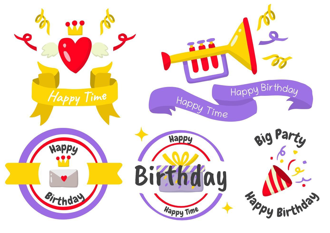 födelsedagsfest etikett logotyper för banner vektor