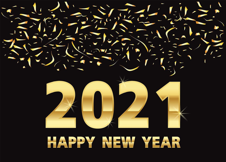 Frohes neues Jahr, goldene Metallnummern auf Schwarz vektor