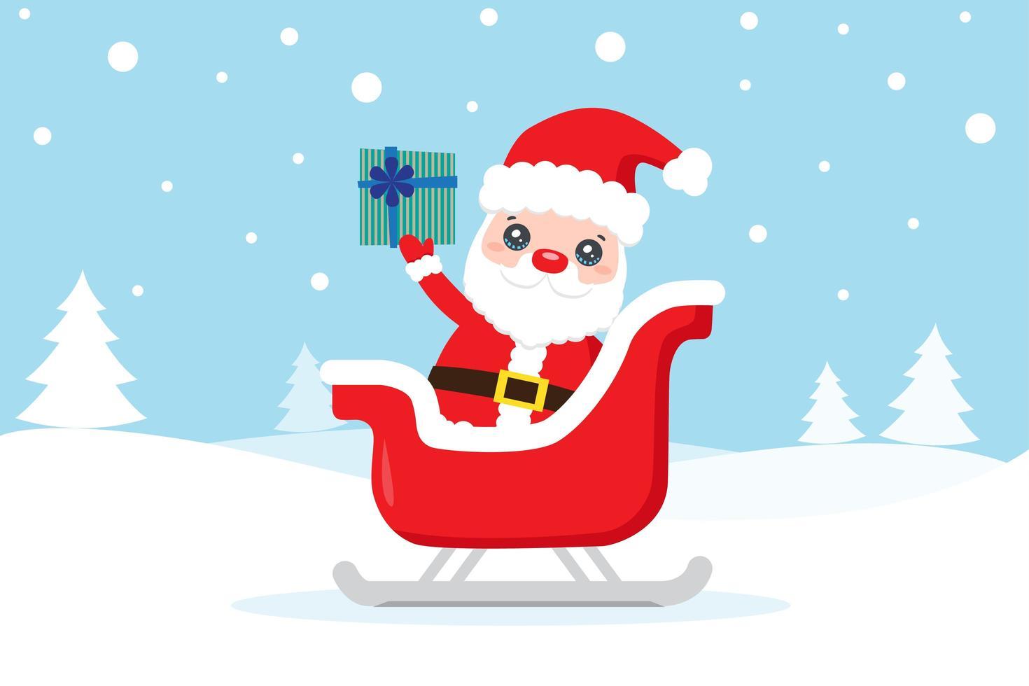 Weihnachtskarte mit Weihnachtsmann im Schlitten im Winter vektor
