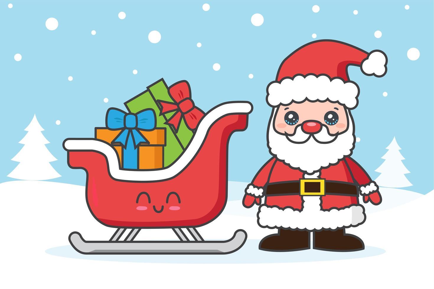 Weihnachtskarte mit Weihnachtsmann und Schlitten im Schnee vektor