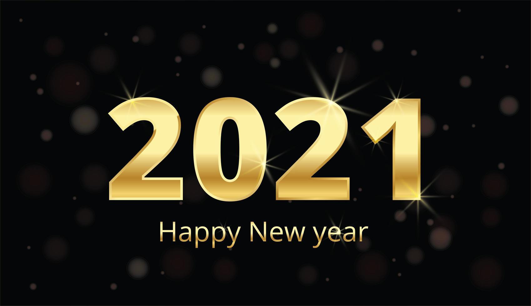 Frohes neues Jahr goldene Metallnummern auf schwarz vektor