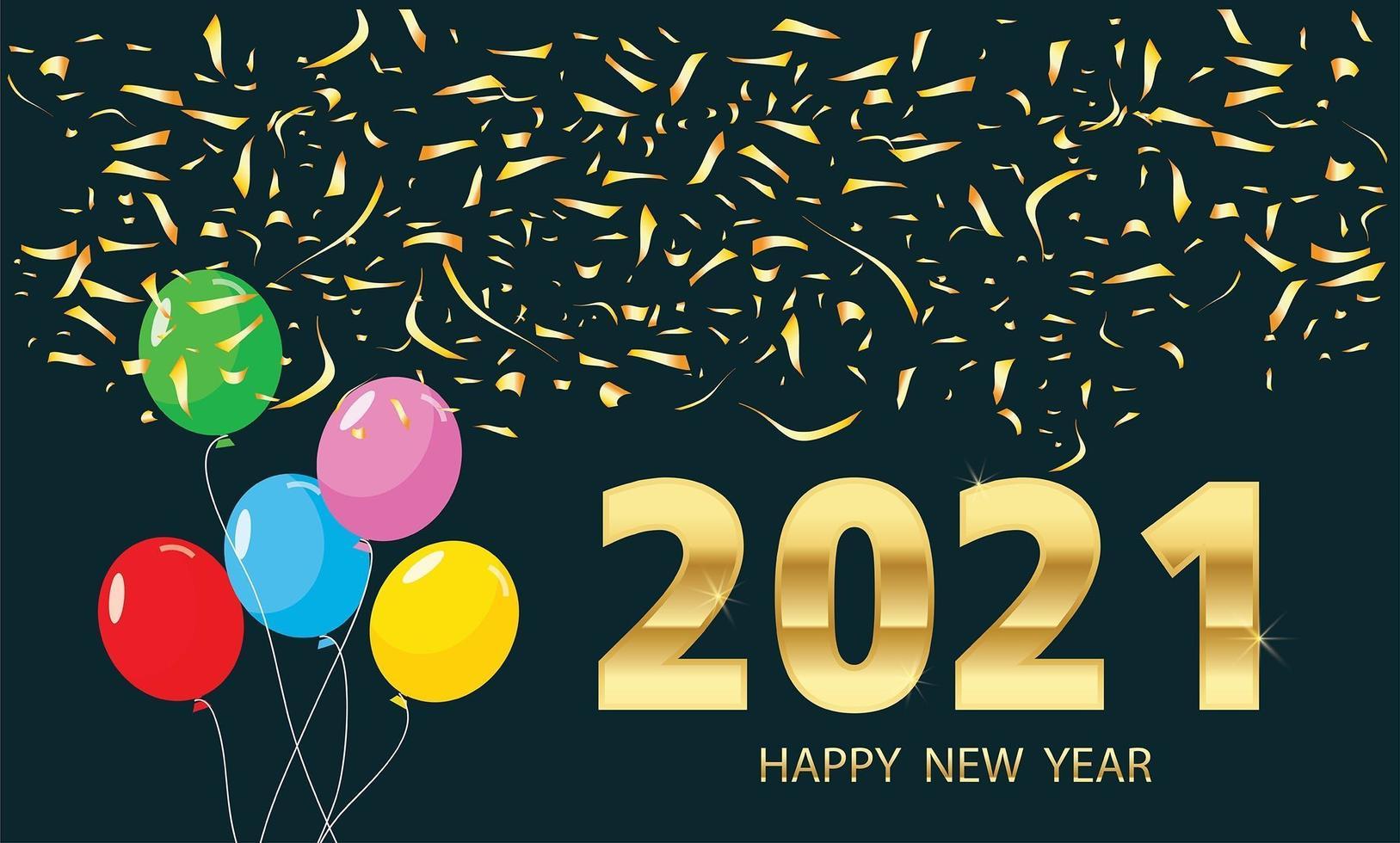 Frohes neues Jahr, Luftballons und goldene Metallnummern vektor