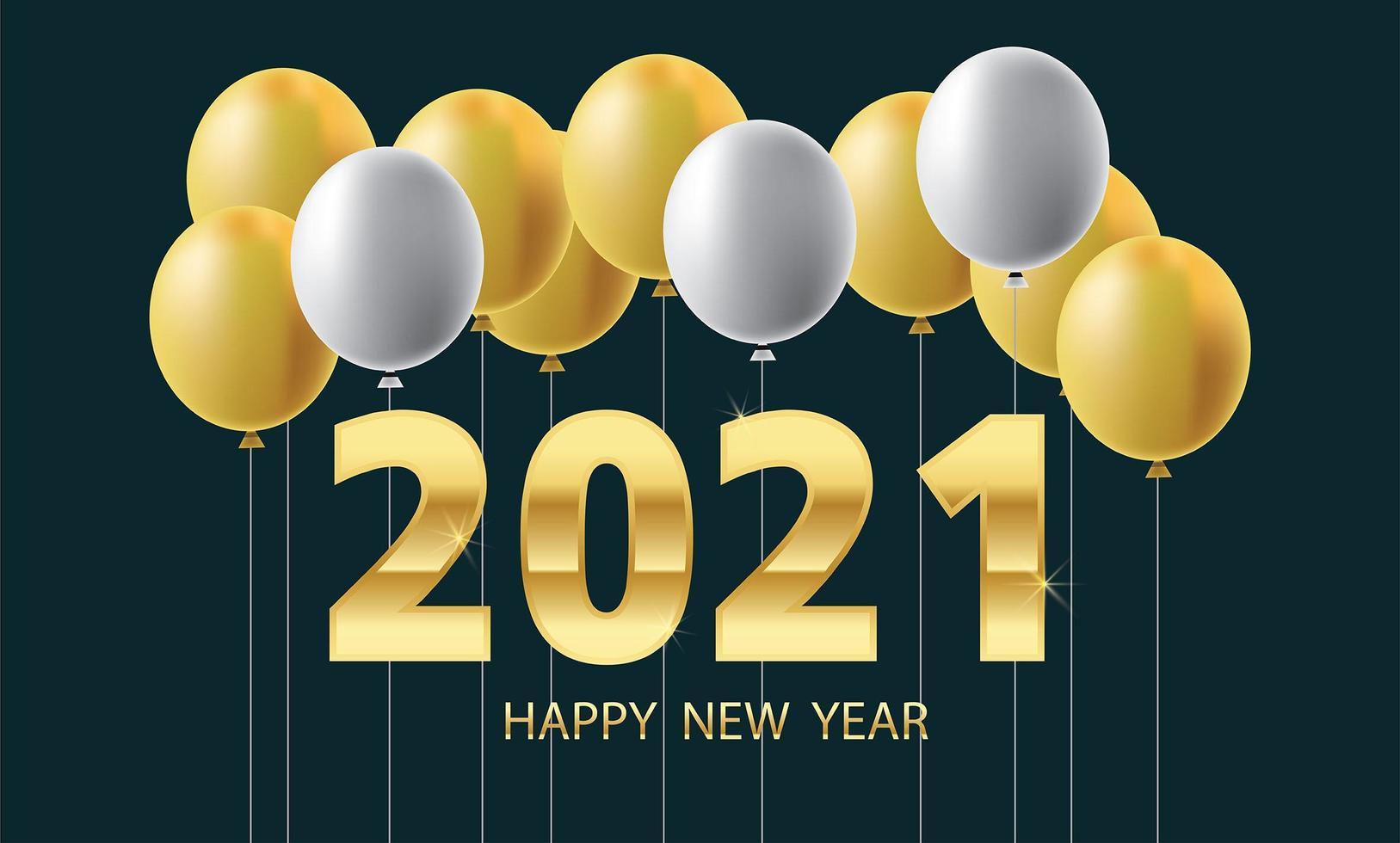 gott nytt år ballonger och gyllene metallnummer vektor