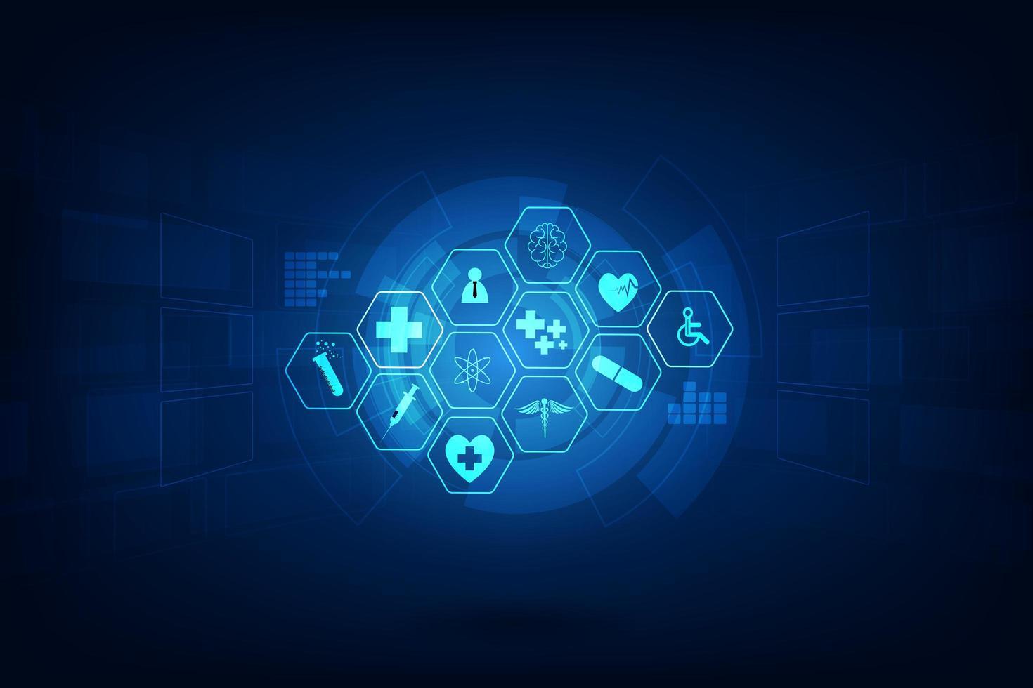 medizinische Ikonen auf abstraktem technischem Hintergrund vektor