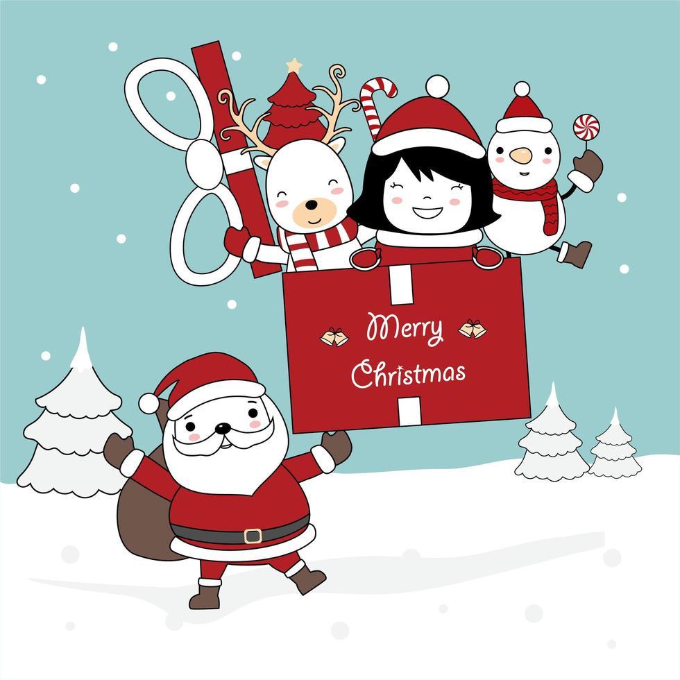 juldesign med santa holdinggåva med karaktärer vektor