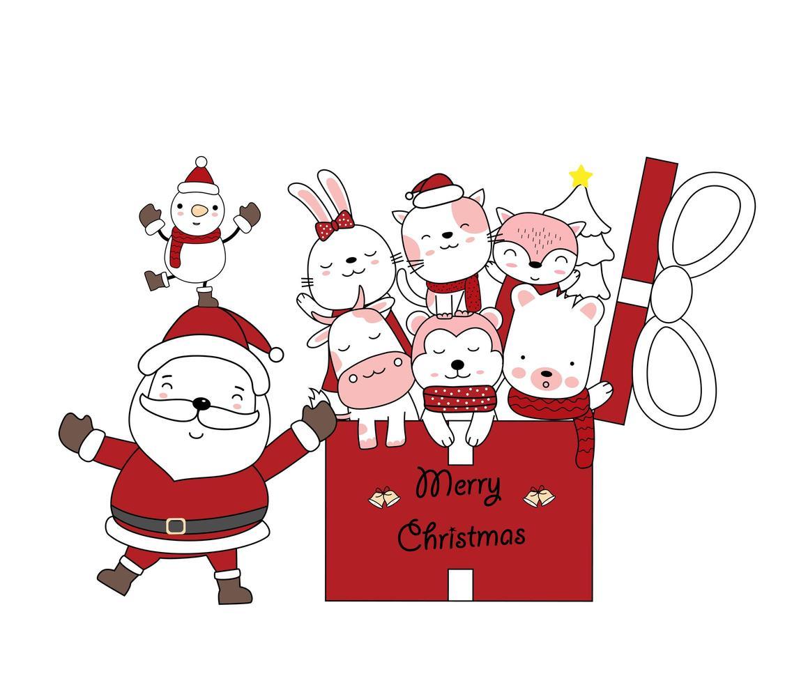 julhälsning med santa och söta djur i gåva vektor