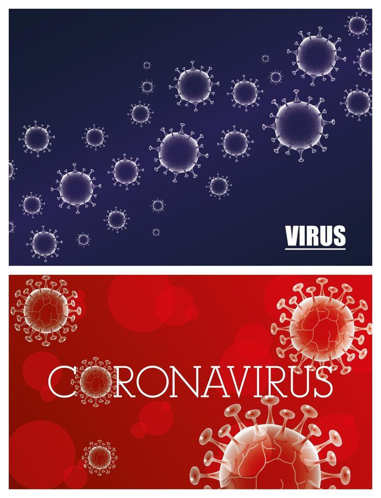 coronavirus vetenskaplig banneruppsättning vektor